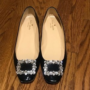 Kate Spade Black Loafers w Crystal Buckle
